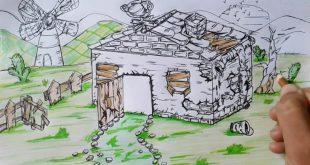 صورة رسم بيوت شعبية بالرصاص , اطلق لمخيلتك العنان و تخيل منزلك