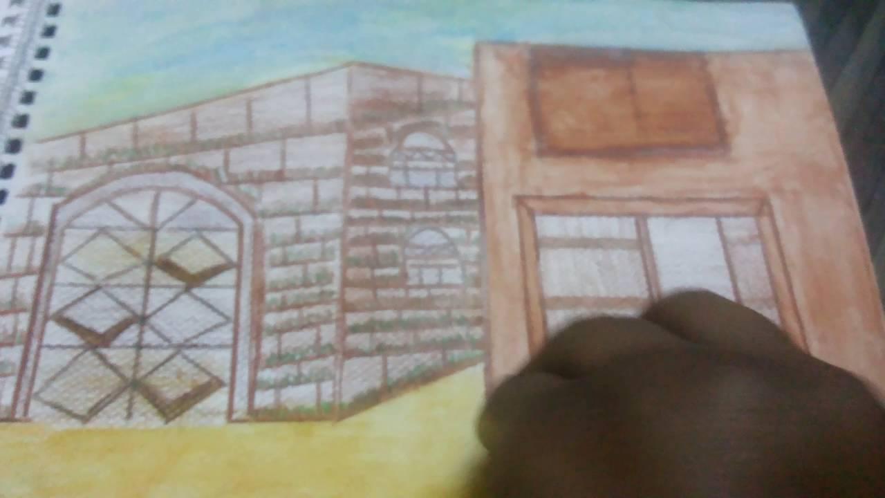 رسم بيوت شعبية بالرصاص اطلق لمخيلتك العنان و تخيل منزلك قبلات الحياة