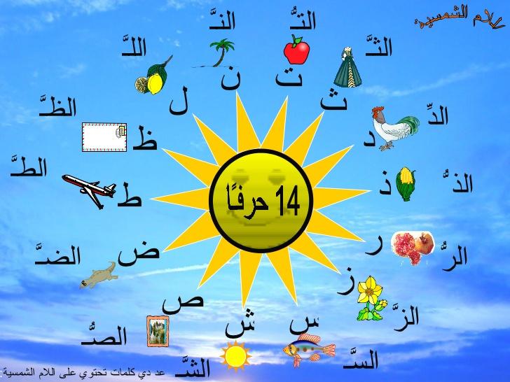 صورة الحروف الشمسية في جملة , تعرف علي الحروف الشمسيه داخل الجمله