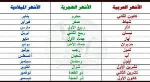 صورة اسماء الاشهر بالعربية , اتعلمي و علمي ولادك