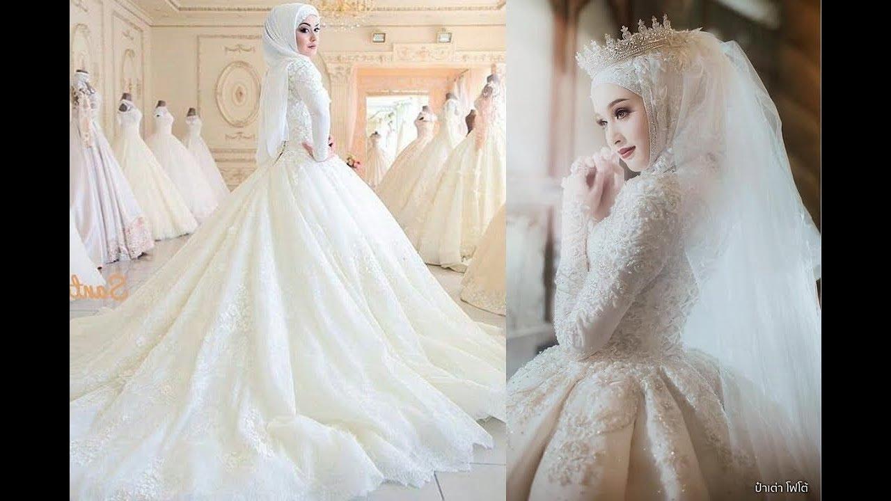 صورة اجمل فساتين الزفاف للمحجبات , عروسة وبتدوري علي فستان فرحك معانا 885 3