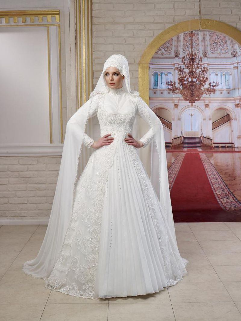 صورة اجمل فساتين الزفاف للمحجبات , عروسة وبتدوري علي فستان فرحك معانا 885 7