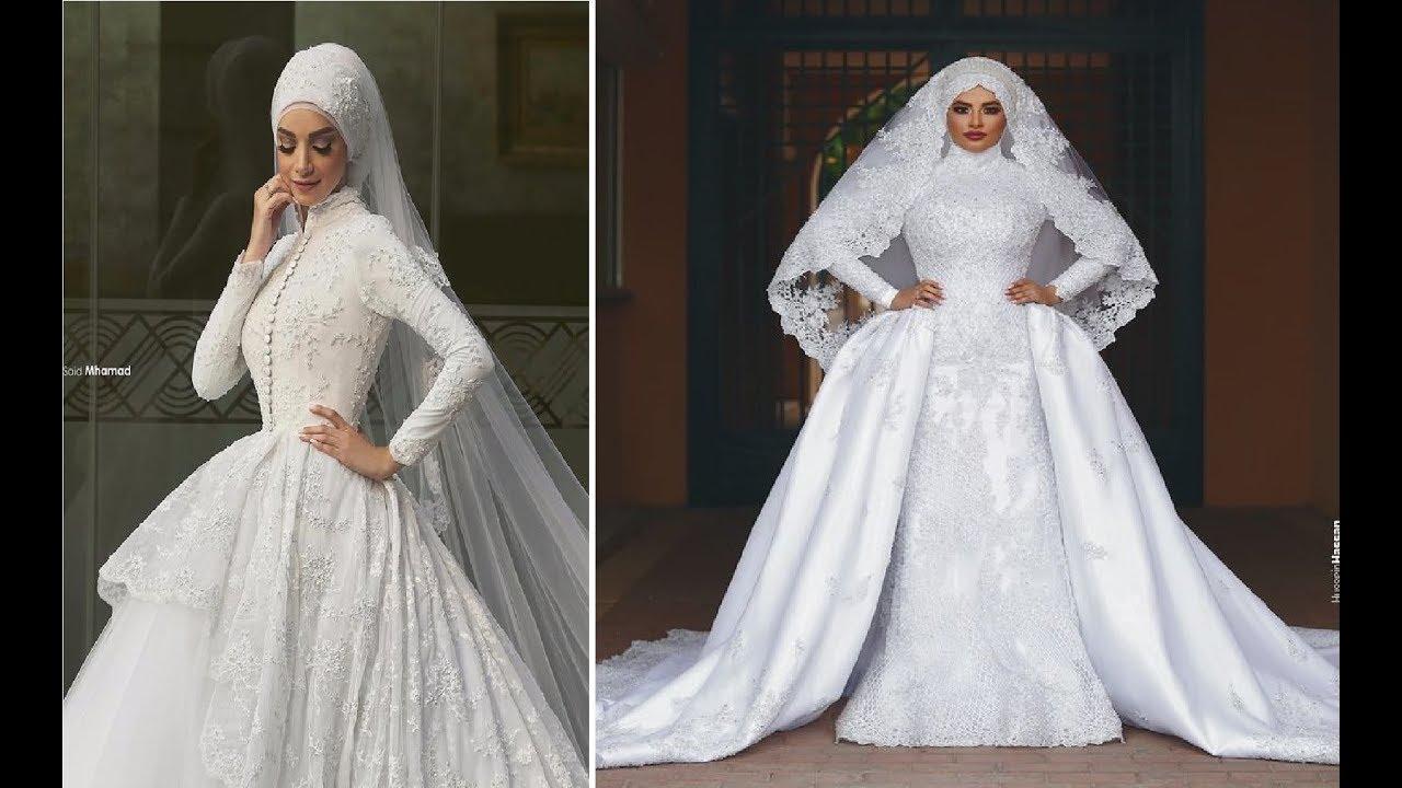 صورة اجمل فساتين الزفاف للمحجبات , عروسة وبتدوري علي فستان فرحك معانا 885 9
