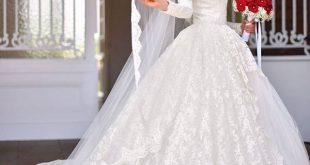 صورة احدث فساتين الزفاف للمحجبات , فساتين عرائس تهوس